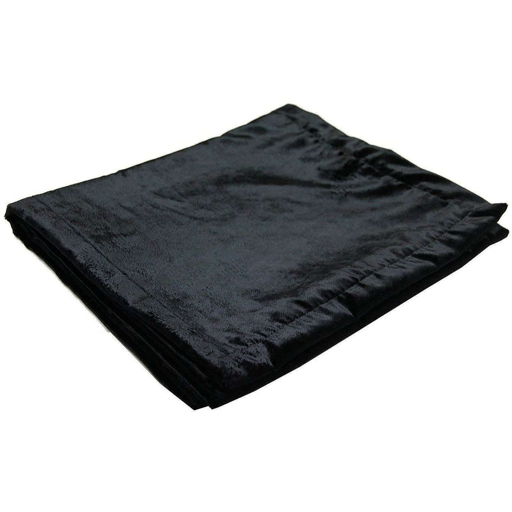 McAlister Textiles Black Crushed Velvet Throw Throws and Runners Bed Runner (50cm x 240cm)
