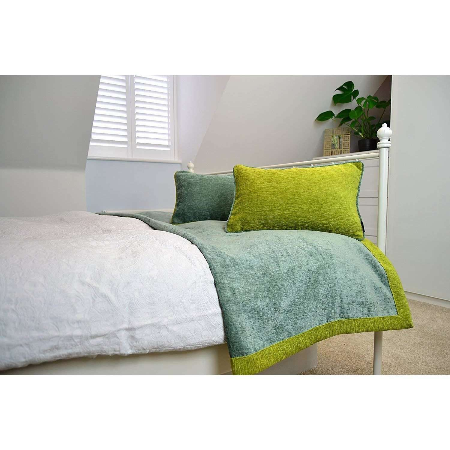 McAlister Textiles Alston Chenille Duck Egg Blue + Green Throw Throws and Runners