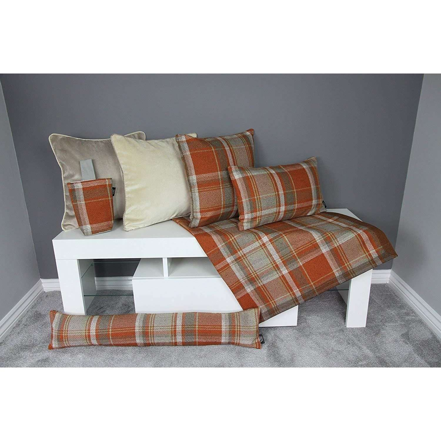 McAlister Textiles Heritage Burnt Orange + Grey Tartan 43cm x 43cm Cushion Sets Cushions and Covers