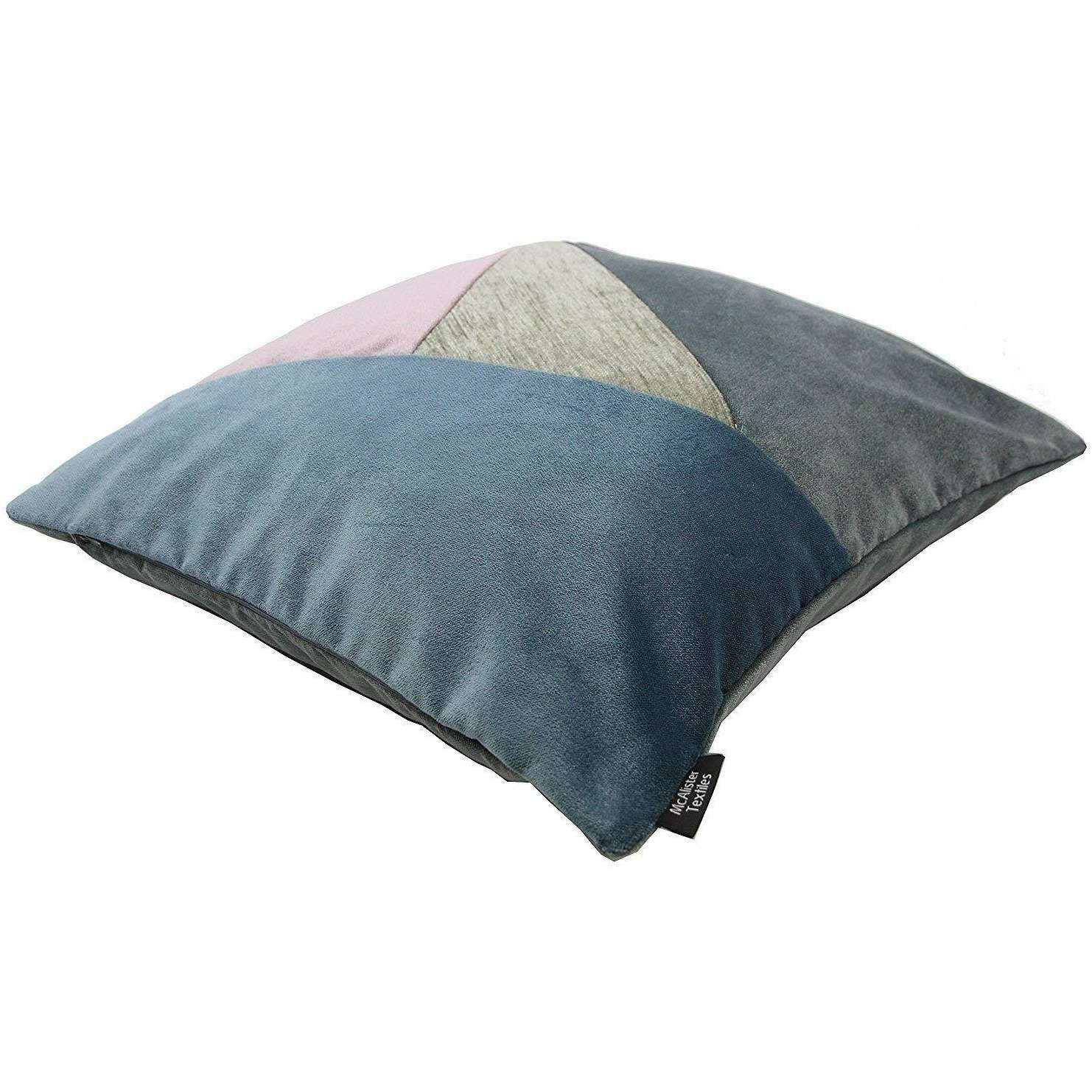 McAlister Textiles Patchwork Velvet Purple, Blue + Grey Cushion Set Cushions and Covers