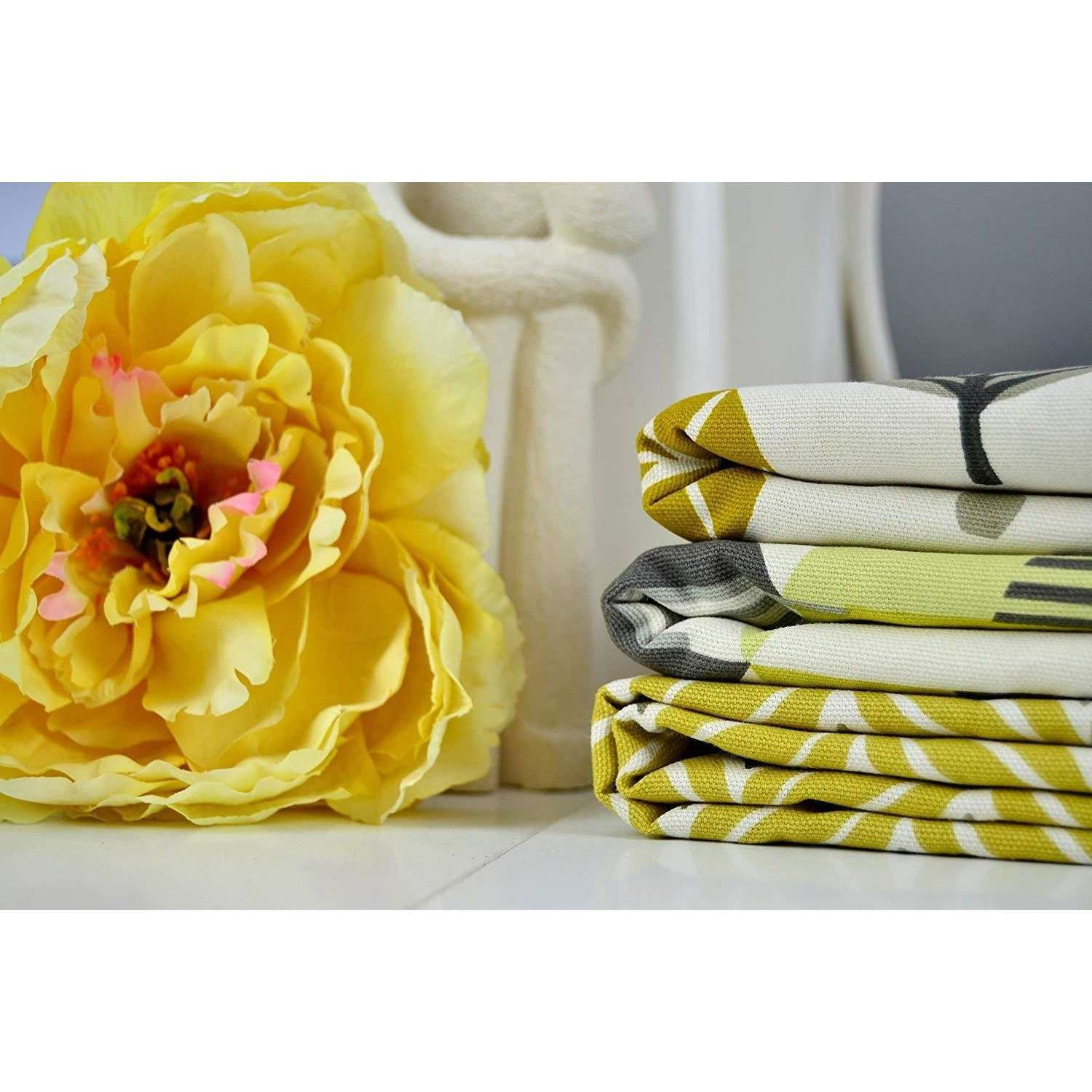 McAlister Textiles Geometric Ochre Yellow 43cm x 43cm Cushion Set of 3 Cushions and Covers