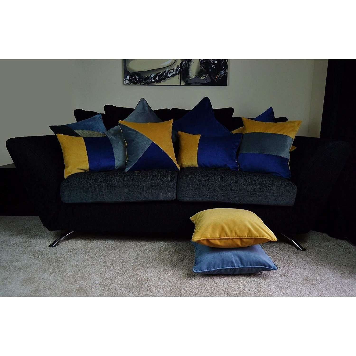 McAlister Textiles Triangle Patchwork Velvet Navy, Yellow + Grey Cushion Cushions and Covers
