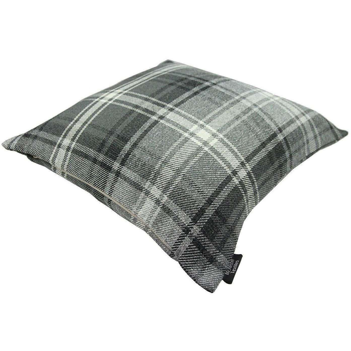 McAlister Textiles Angus Charcoal Grey Tartan 43cm x 43cm Cushion Sets Cushions and Covers