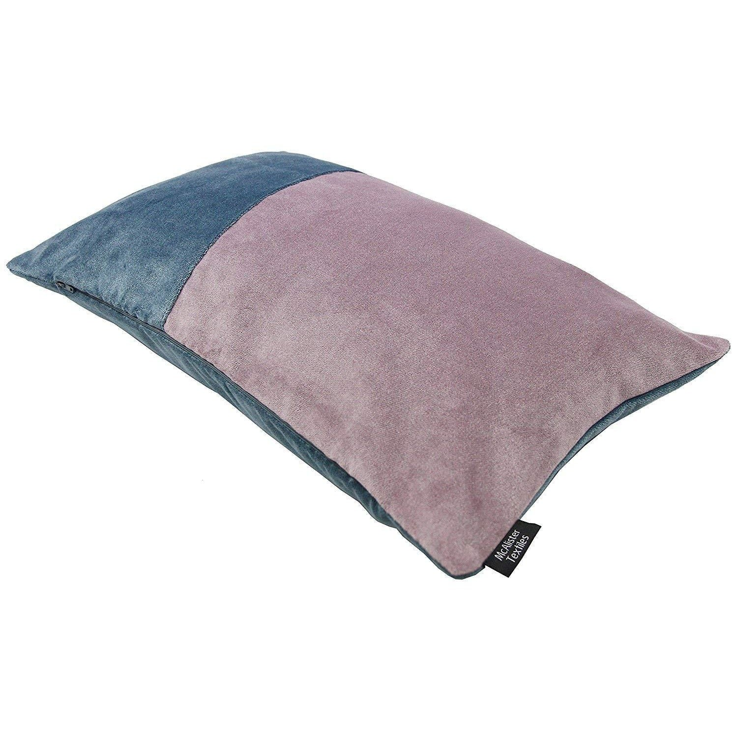 McAlister Textiles Patchwork Velvet Blue, Purple + Grey Pillow Set Pillow