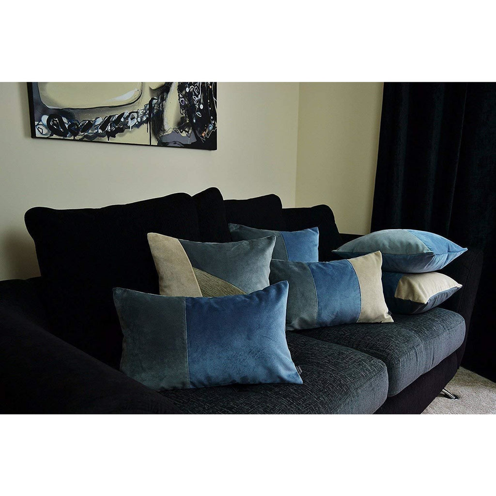 McAlister Textiles Patchwork Velvet Blue, Gold + Grey Pillow Set Pillow