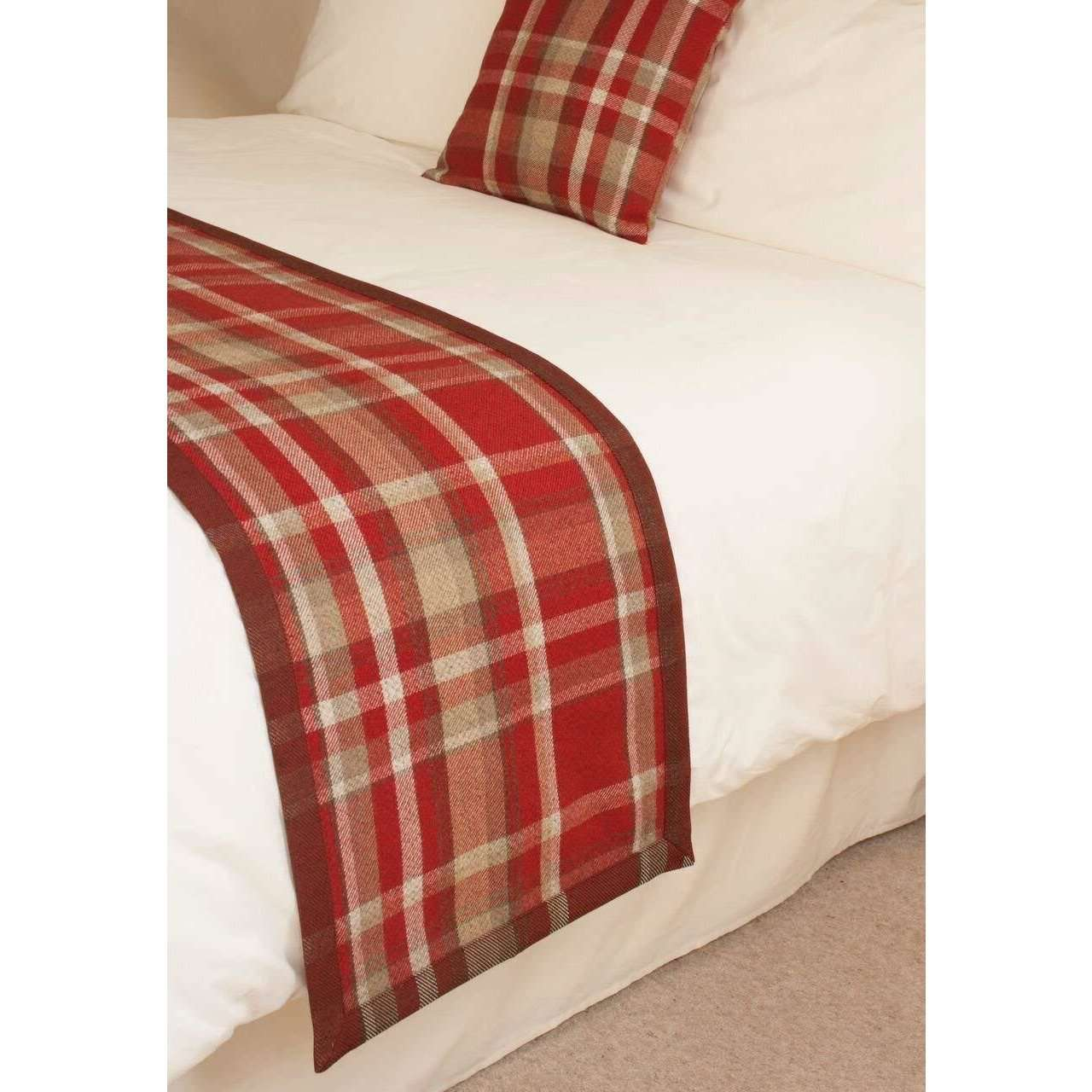 McAlister Textiles Heritage Red + White Tartan 43cm x 43cm Cushion Sets Cushions and Covers