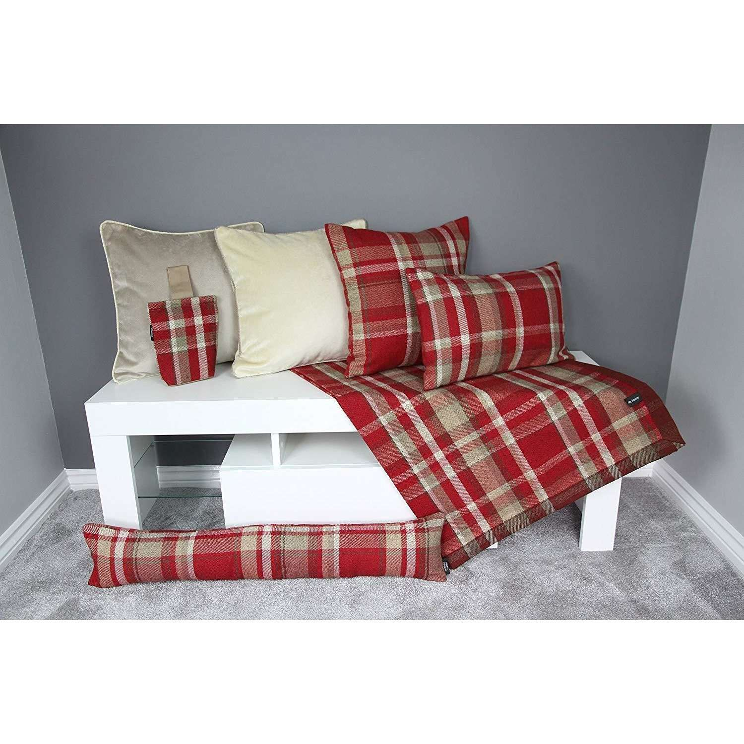 McAlister Textiles Heritage Red + White Tartan Home Decor Design Set