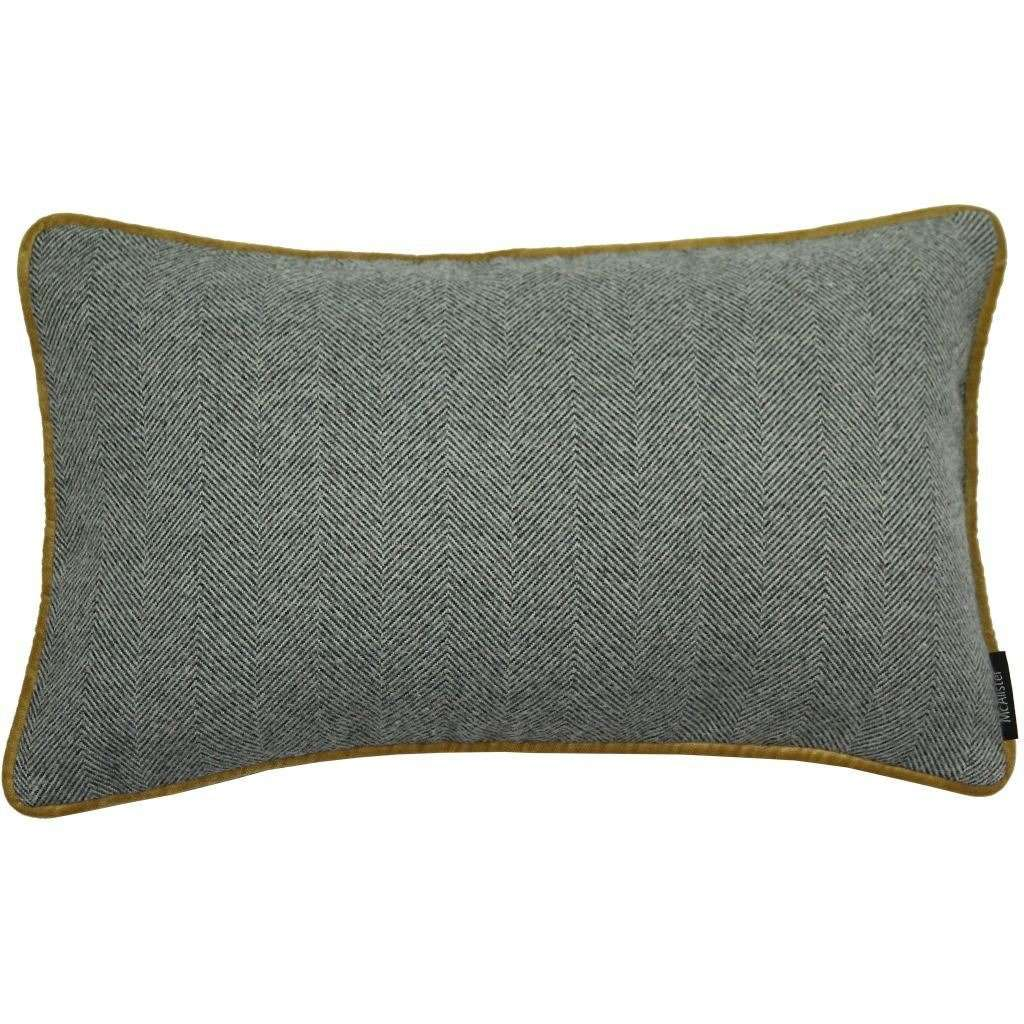 McAlister Textiles Herringbone Boutique Grey + Yellow Cushion Cushions and Covers Cover Only 50cm x 30cm