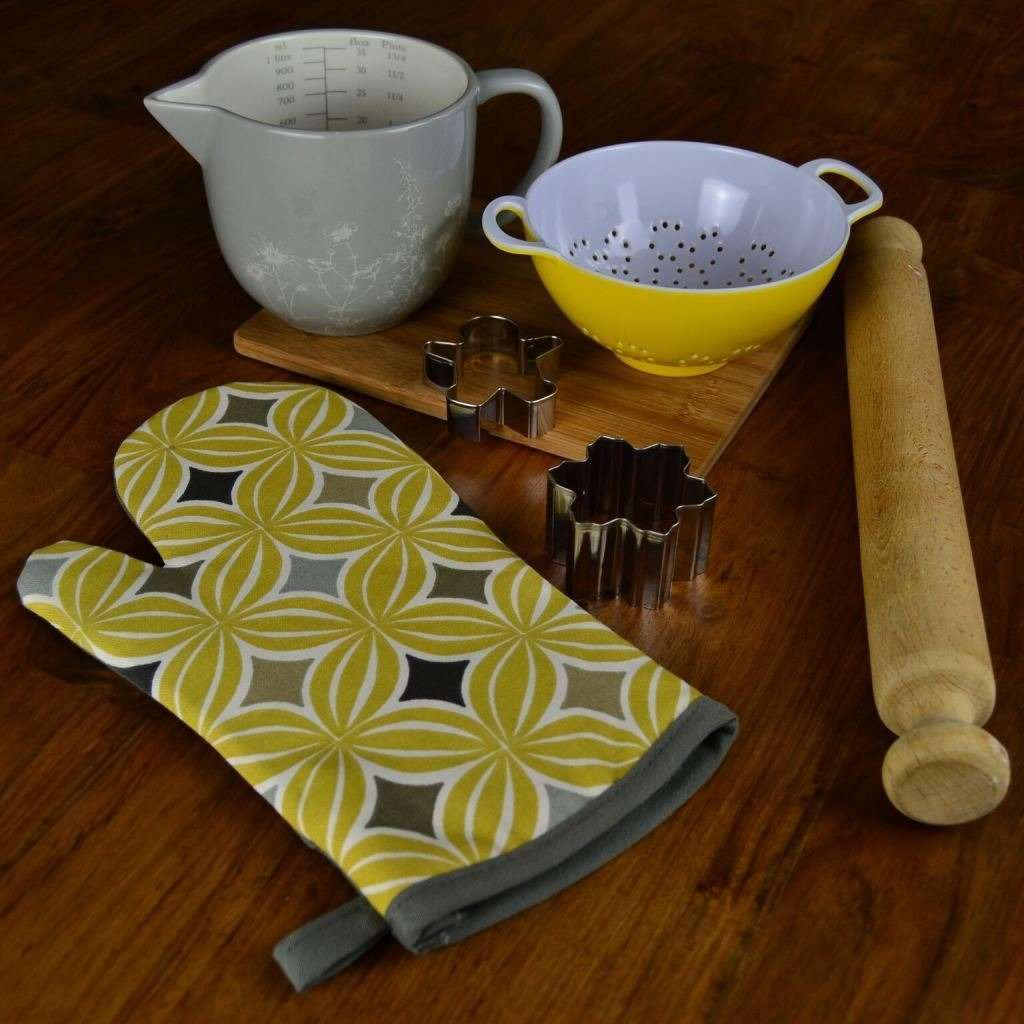 McAlister Textiles Laila Yellow Cotton Print Oven Mitt Kitchen Accessories