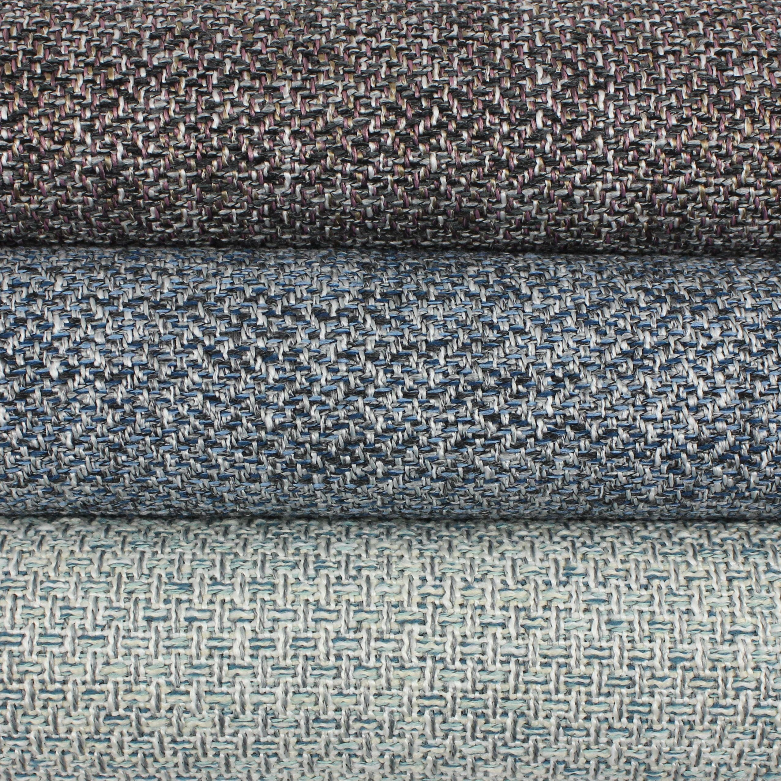 McAlister Textiles Harris Charcoal Grey and Blue Tweed Roman Blinds Roman Blinds