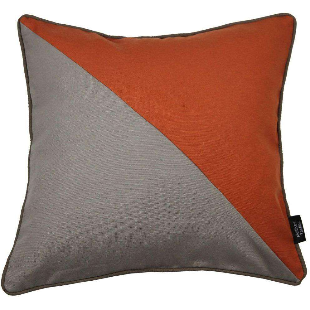 McAlister Textiles Panama Patchwork Burnt Orange + Taupe Cushion Cushions and Covers Cover Only 43cm x 43cm