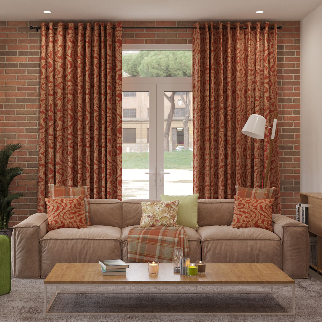 McAlister Textiles Little Leaf Burnt Orange Curtains Tailored Curtains