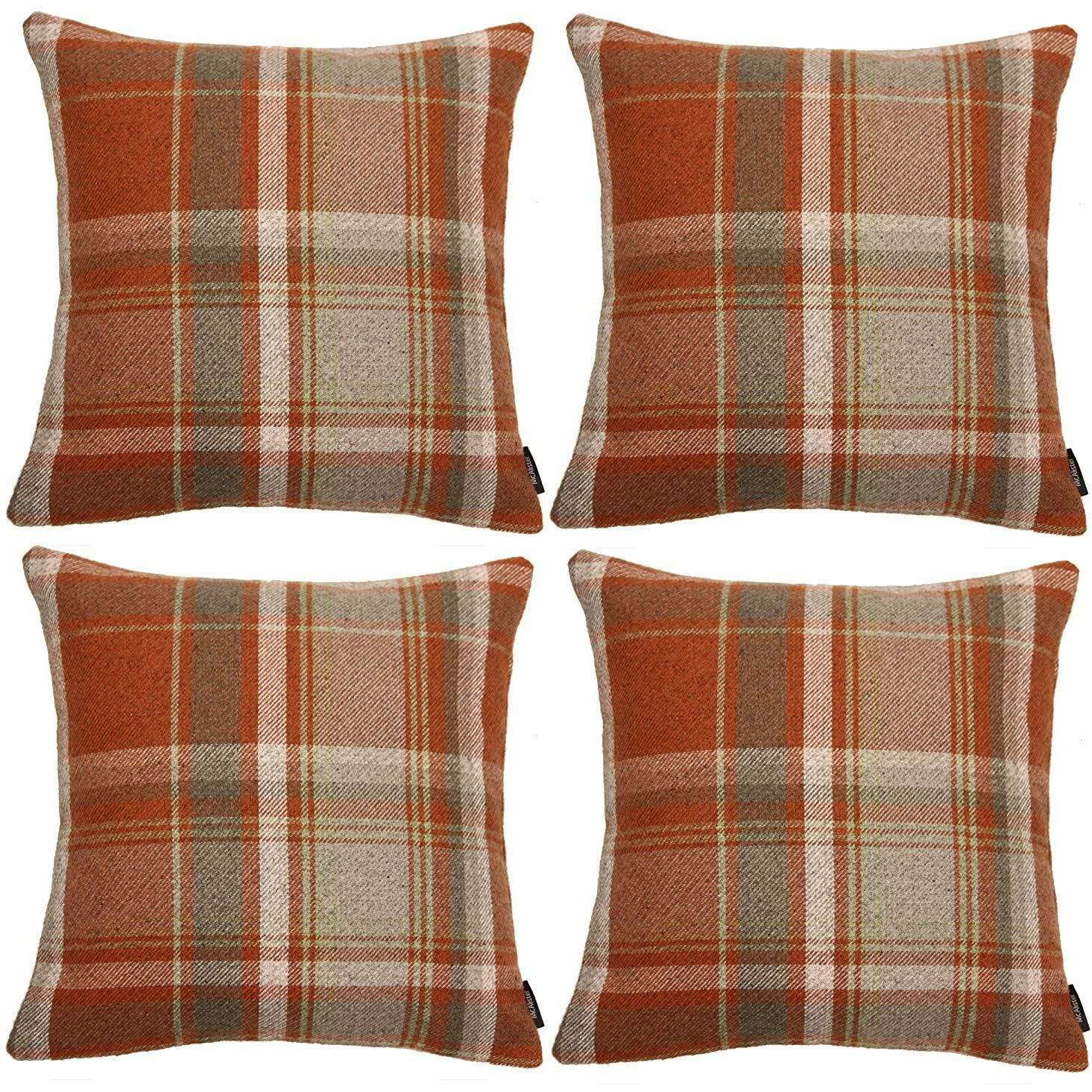 McAlister Textiles Heritage Burnt Orange + Grey Tartan 43cm x 43cm Cushion Sets Cushions and Covers Cushion Covers Set of 4