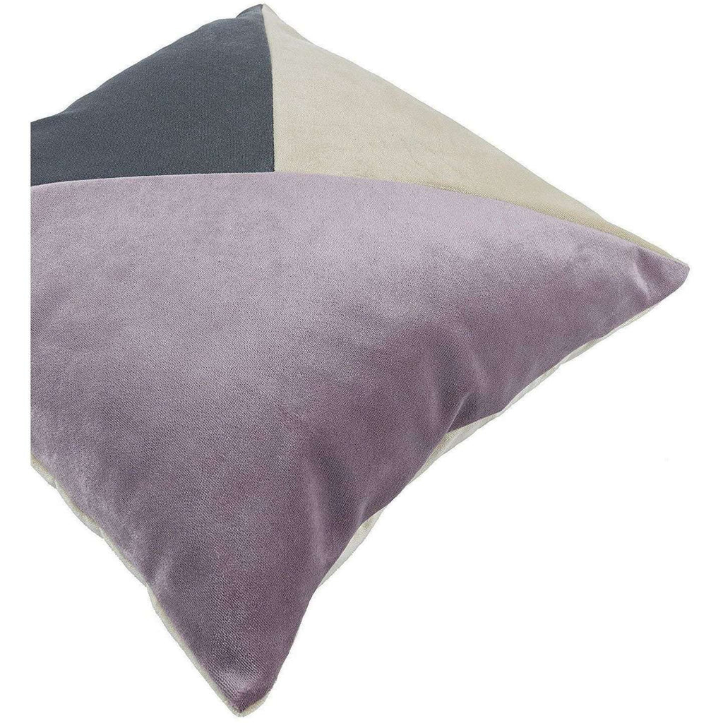 McAlister Textiles Patchwork Velvet Purple, Gold + Grey Cushion Set Cushions and Covers