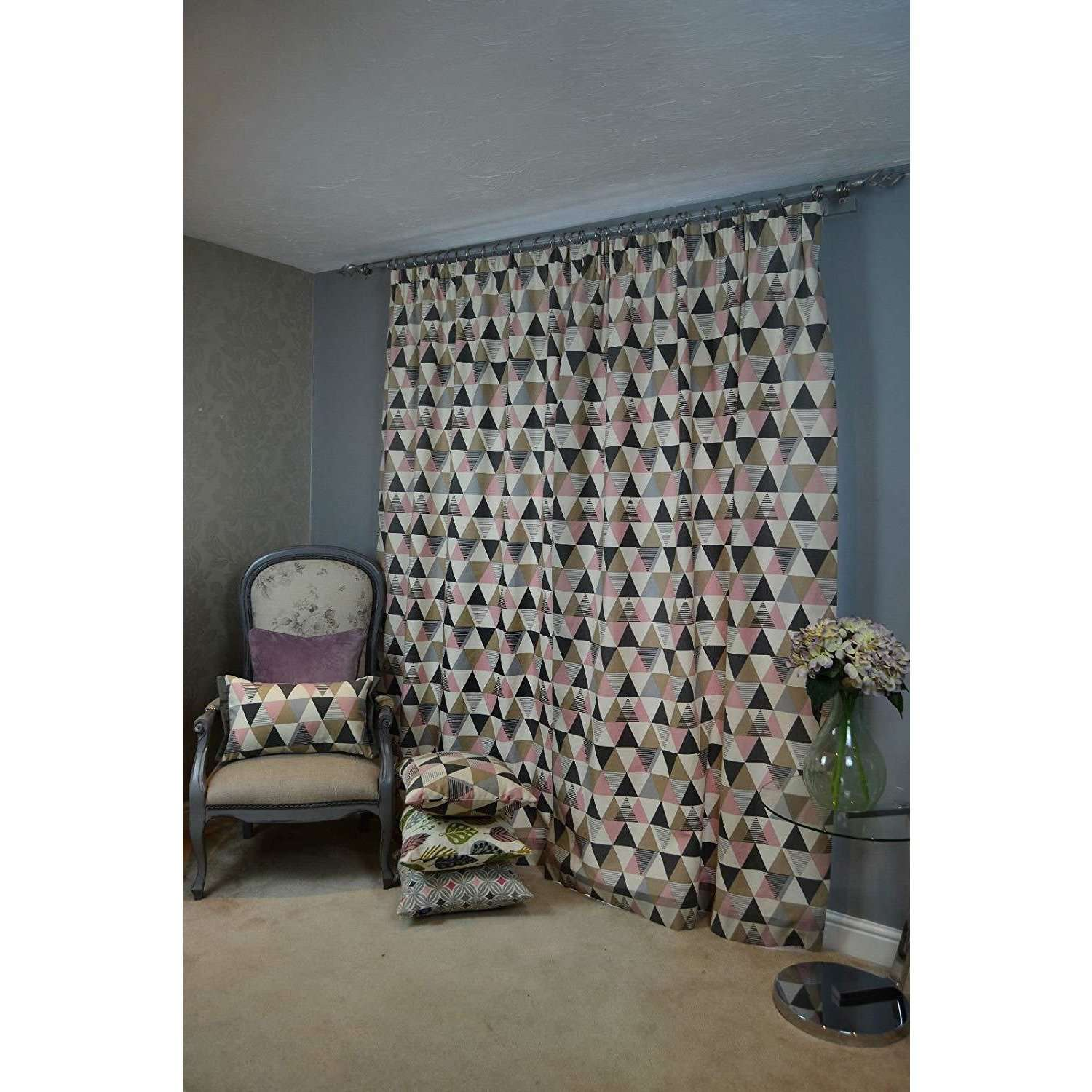 McAlister Textiles Vita Cotton Print Blush Pink Curtains Tailored Curtains