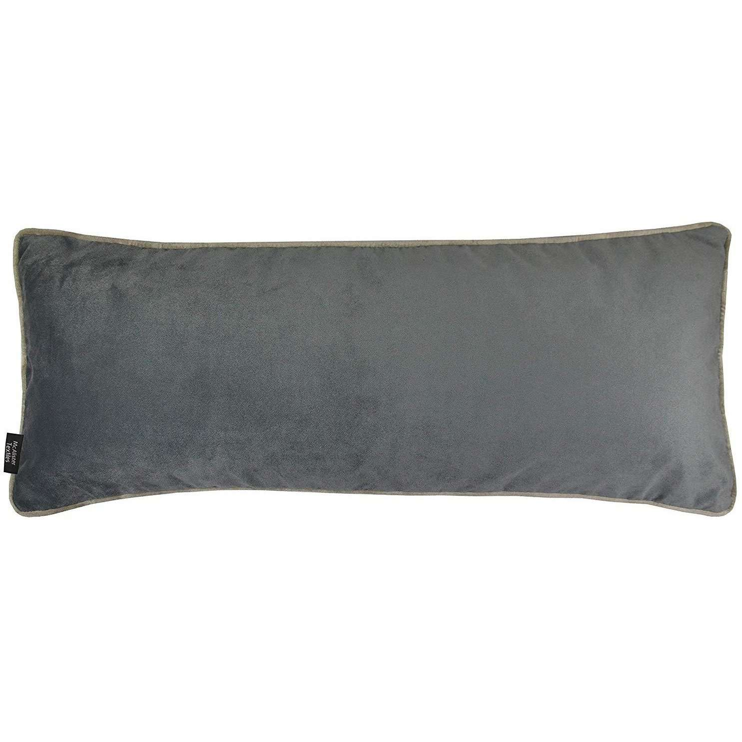McAlister Textiles Deluxe Velvet Large Charcoal Grey Bed Pillow Large Boudoir Cushions