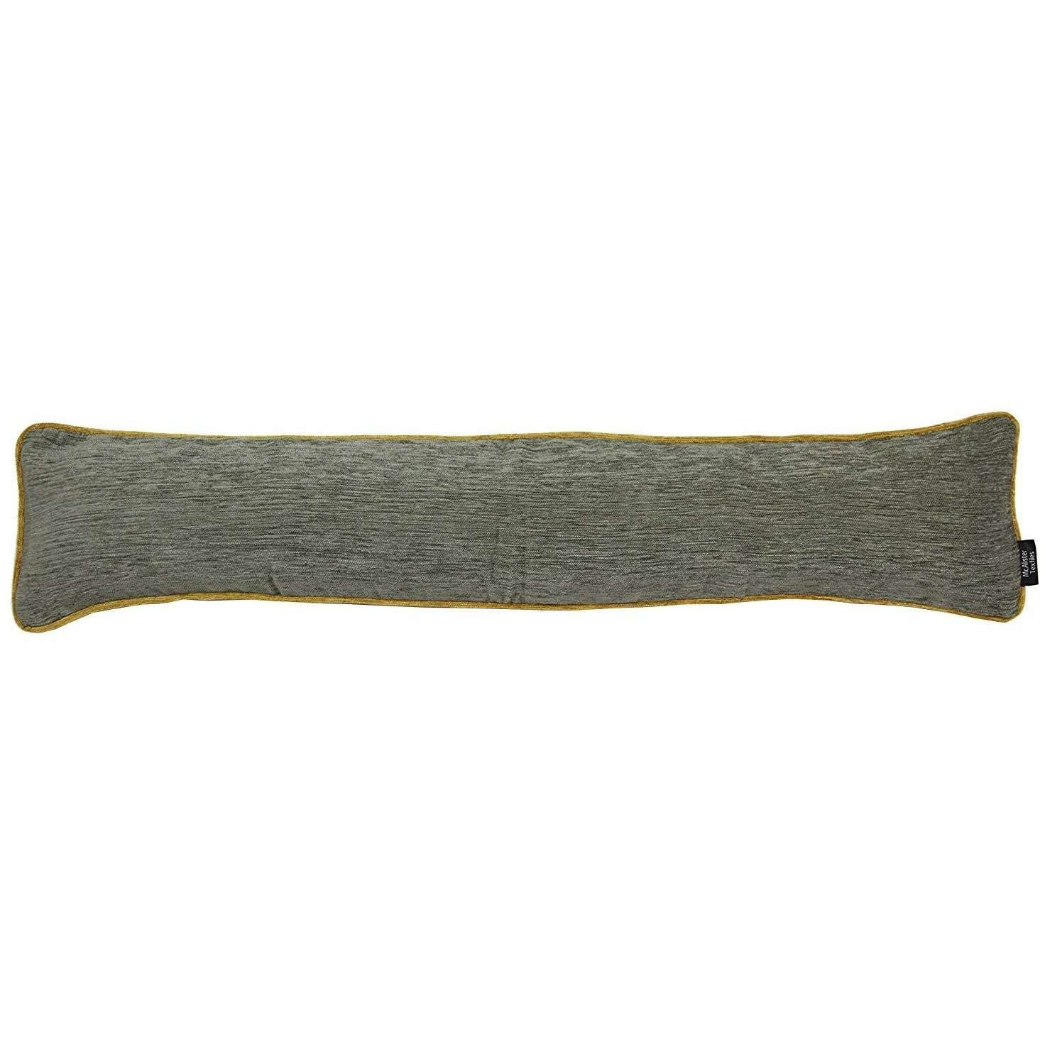 McAlister Textiles Alston Chenille Grey + Yellow Draught Excluder Draught Excluders