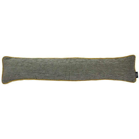 McAlister Textiles Two Tone Alston Chenille Long Grey & Ochre Yellow Fabric Draught Excluder-Draught Excluders-