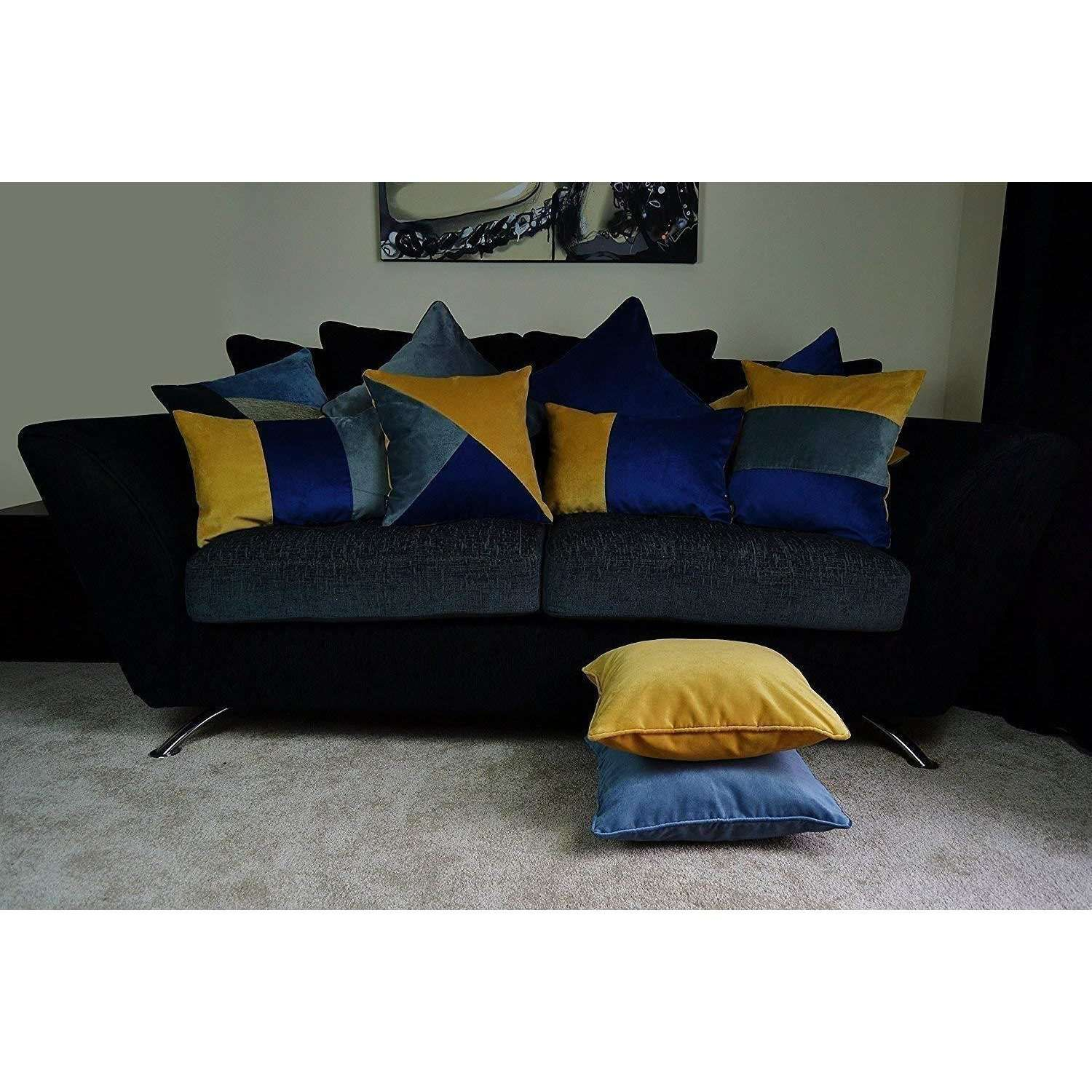 McAlister Textiles Patchwork Velvet Navy, Yellow + Grey Pillow Set Pillow