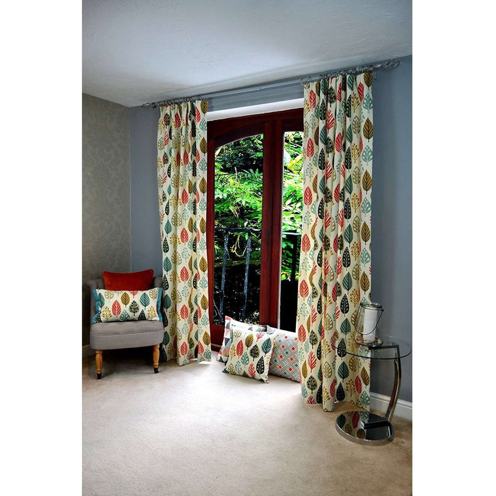 "McAlister Textiles Magda Cotton Print Burnt Orange Curtains Tailored Curtains 116cm(w) x 182cm(d) (46"" x 72"")"
