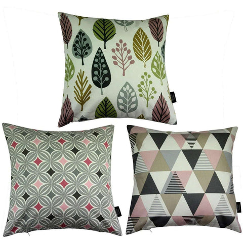 McAlister Textiles Geometric Copenhagen Cushion Set of 3 - Blush Pink-Cushions and Covers-