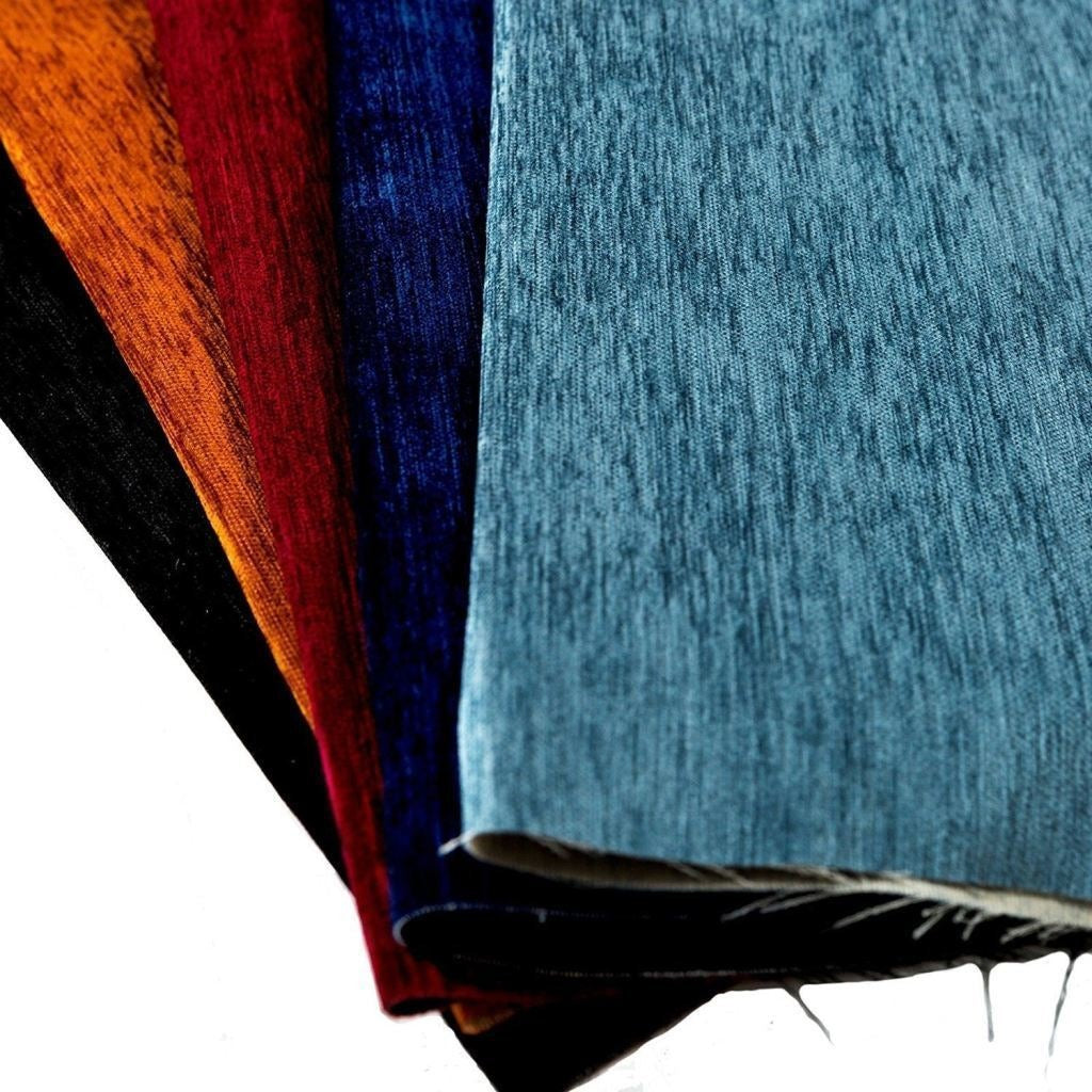 McAlister Textiles Plain Chenille Wedgewood Blue Fabric Fabrics