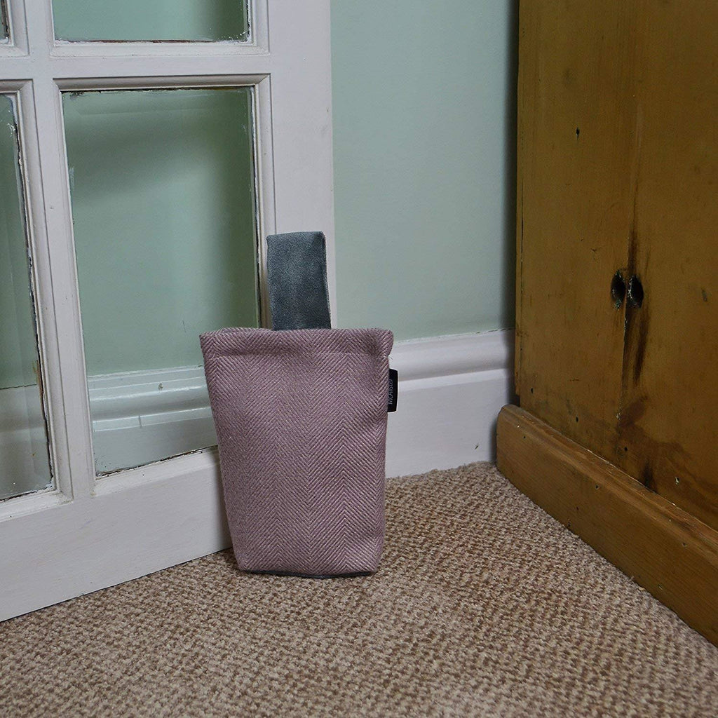 McAlister Textiles Herringbone Boutique Purple + Grey Door Stop Doorstops