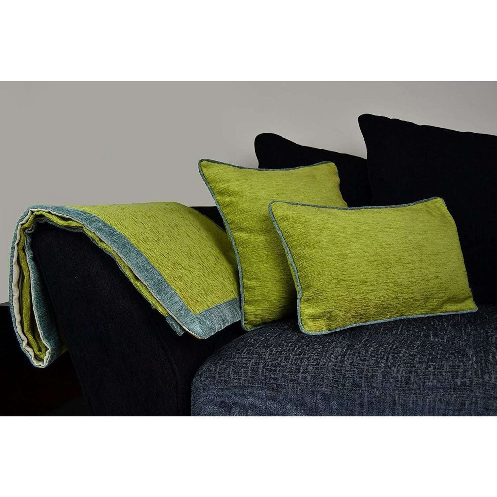 McAlister Textiles Alston Chenille Green + Duck Egg Blue Throws & Runners Throws and Runners