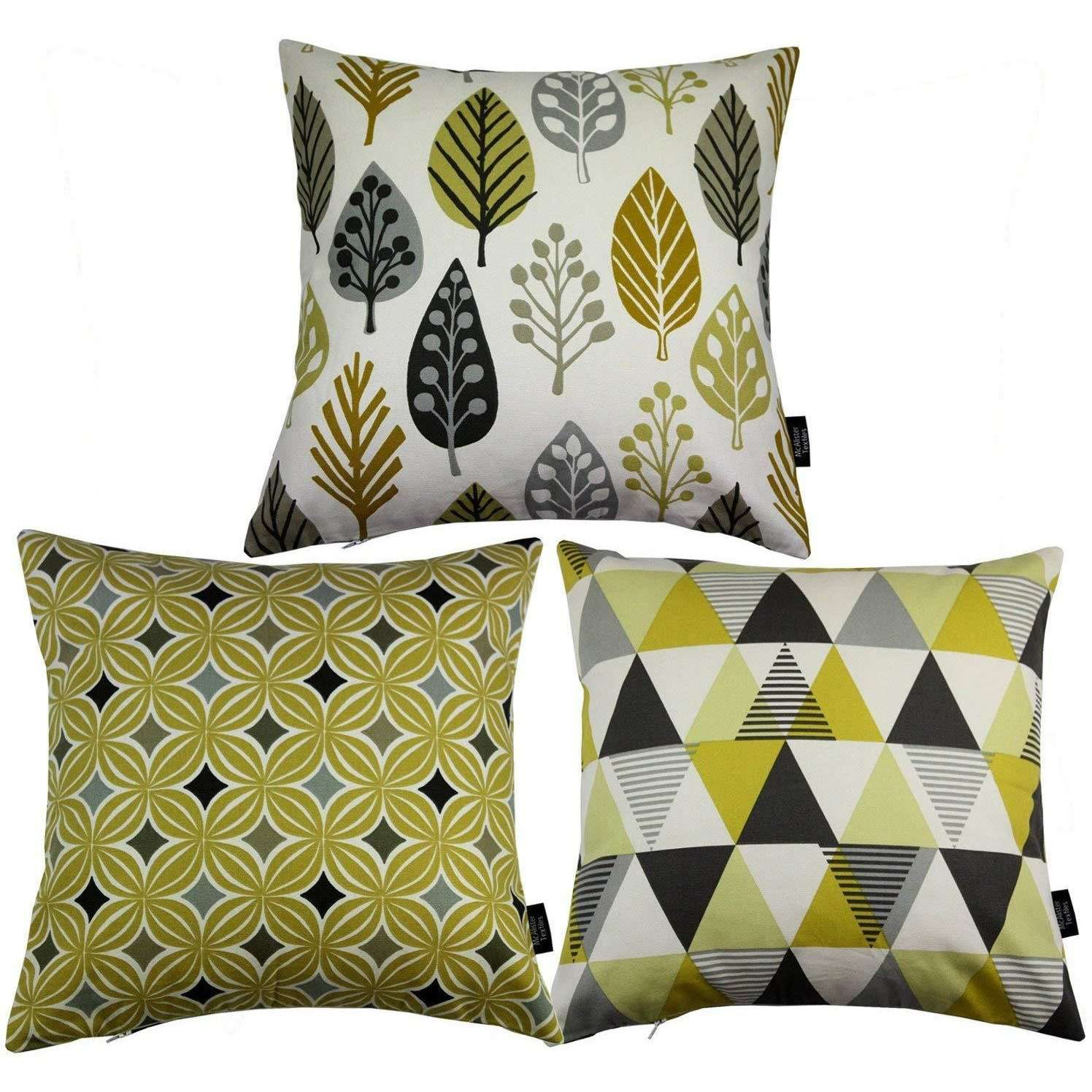 McAlister Textiles Geometric Ochre Yellow 43cm x 43cm Cushion Set of 3 Cushions and Covers Cover Only