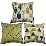 Load image into Gallery viewer, McAlister Textiles Geometric Ochre Yellow 43cm x 43cm Cushion Set of 3 Cushions and Covers Cover Only
