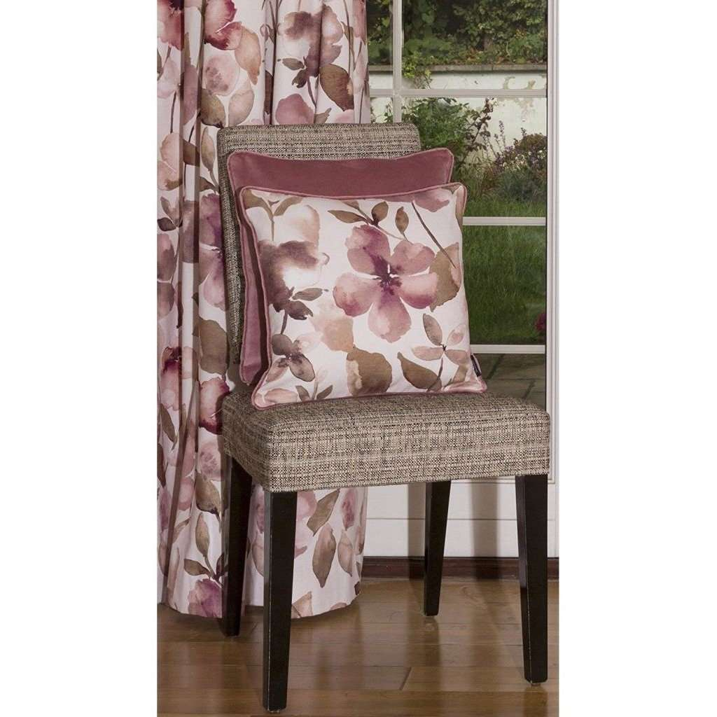 McAlister Textiles Blush Pink Floral Velvet Curtains Tailored Curtains