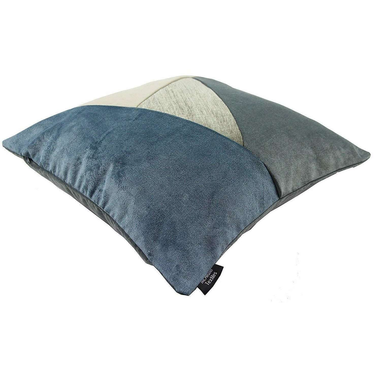 McAlister Textiles Patchwork Velvet Gold, Blue + Grey Cushion Set Cushions and Covers