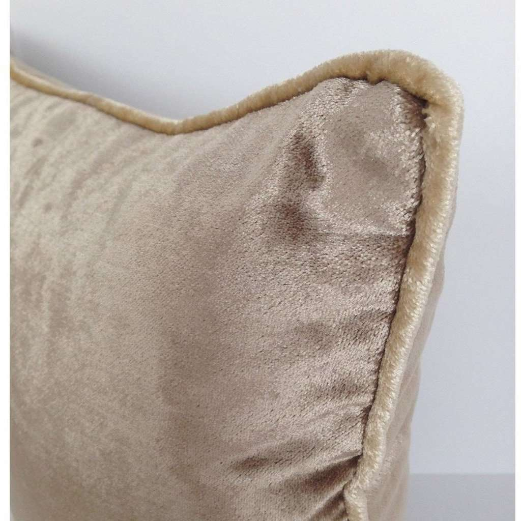 McAlister Textiles Beige Mink Crushed Velvet Cushions Cushions and Covers