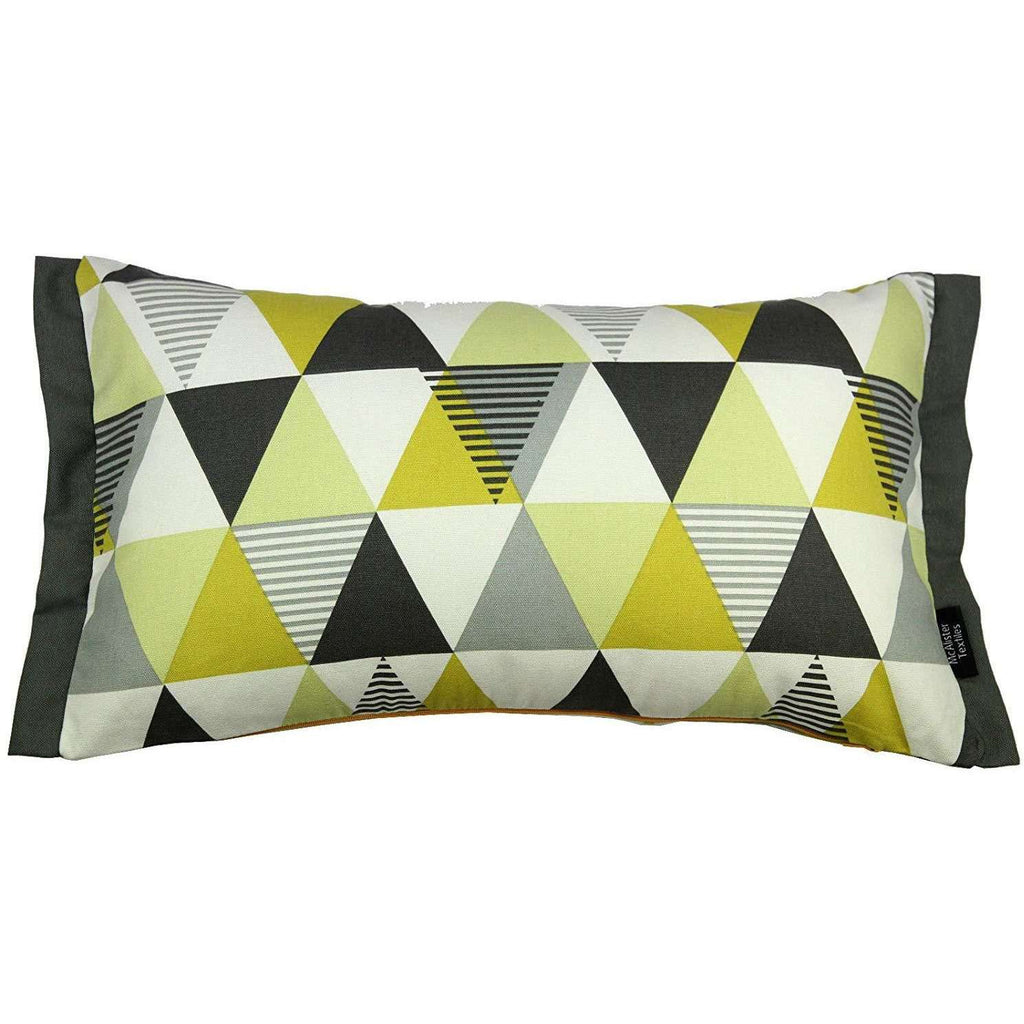 McAlister Textiles Vita Cotton Print Ochre Yellow Cushion Cushions and Covers Cover Only 50cm x 30cm