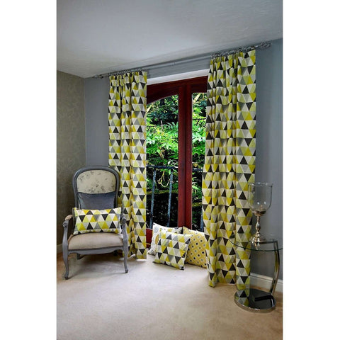 McAlister Textiles Vita Geometric Cotton Curtains - Ochre Yellow-Tailored Curtains-