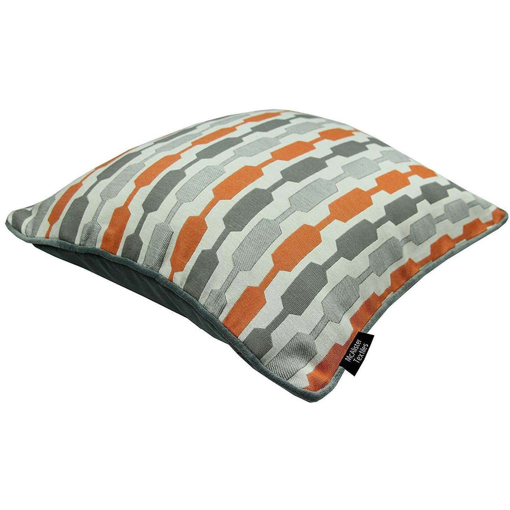 McAlister Textiles Lotta + Plain Velvet 43cm x 43cm Cushion Set of 3 - Burnt Orange + Grey Cushions and Covers