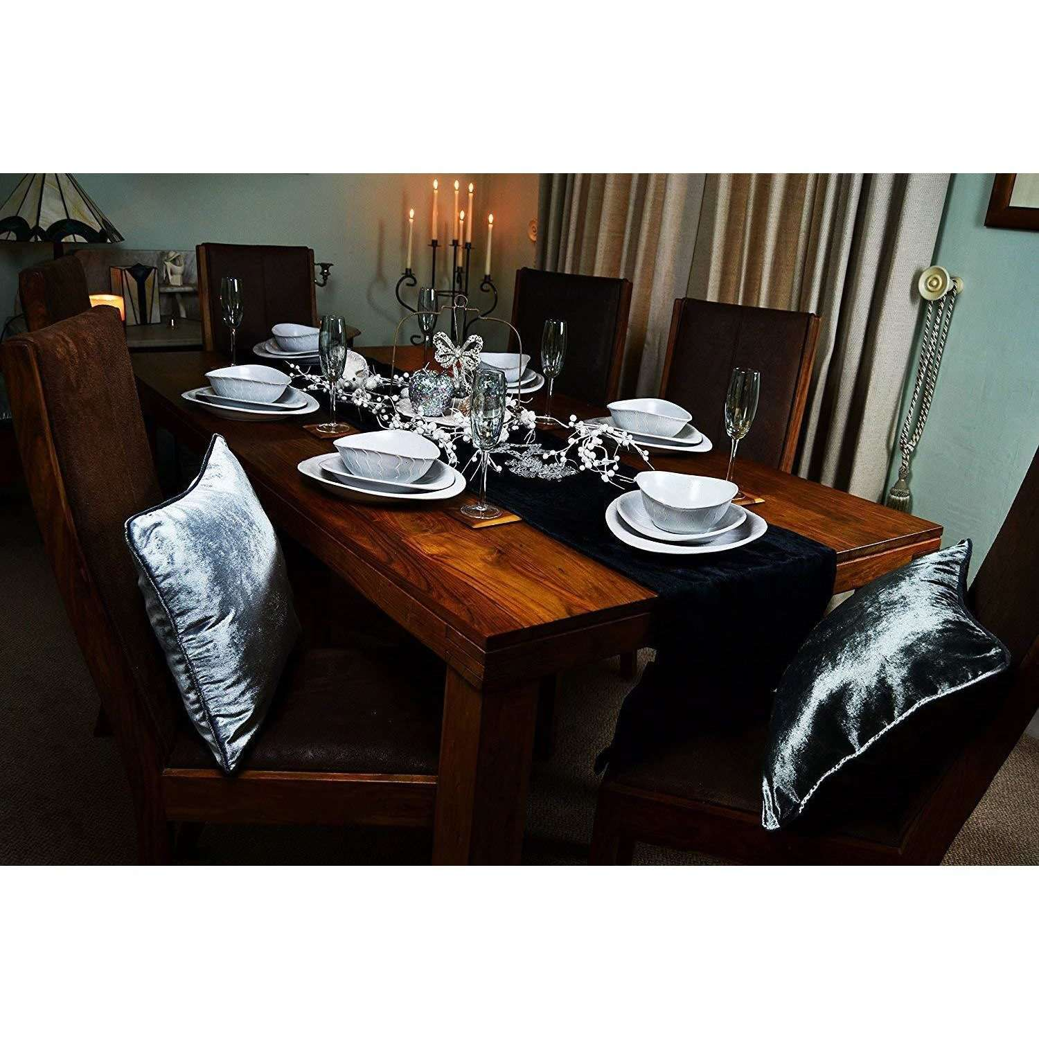 McAlister Textiles Black Crushed Velvet Table Runner Throws and Runners
