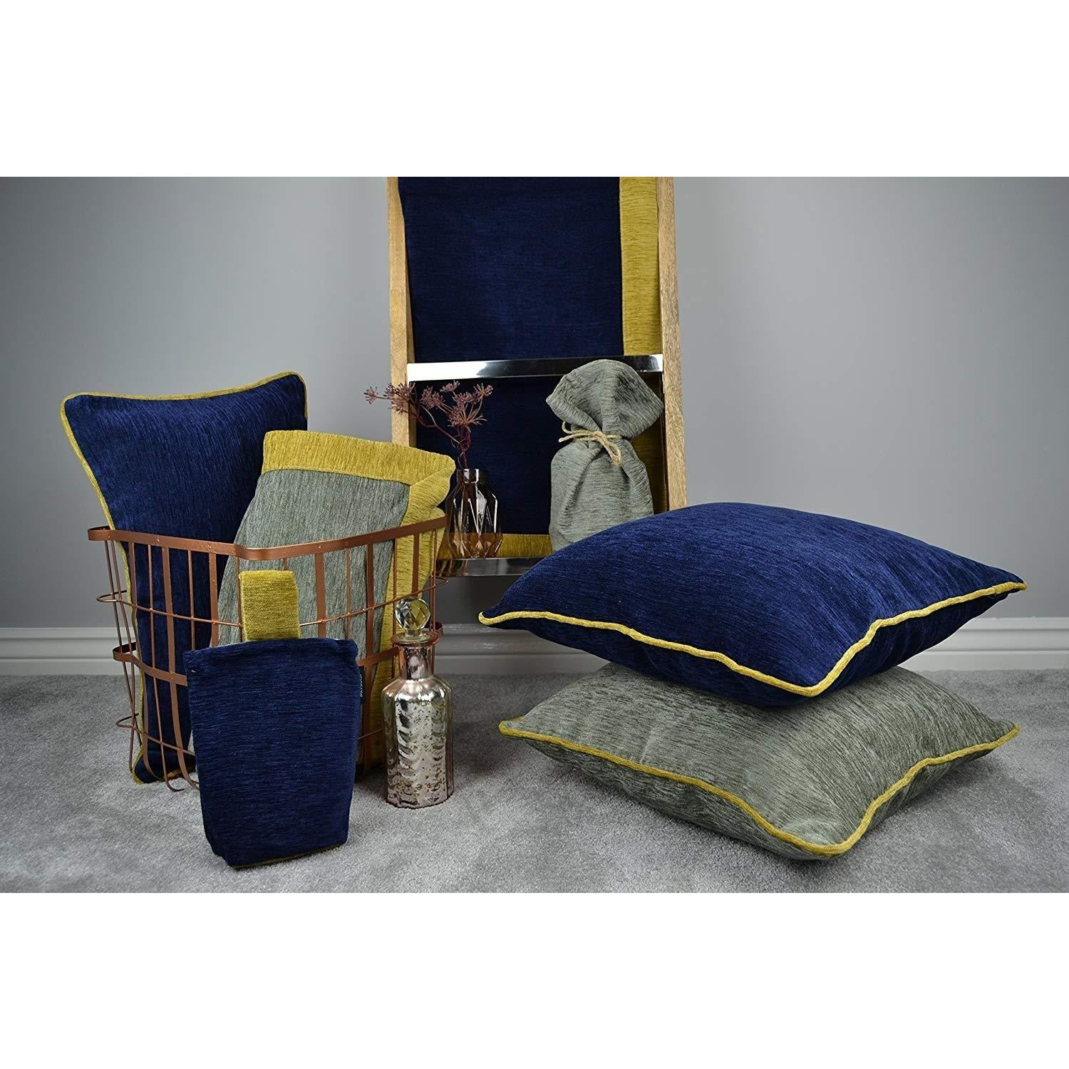 McAlister Textiles Alston Chenille Navy Blue + Yellow Throw Throws and Runners
