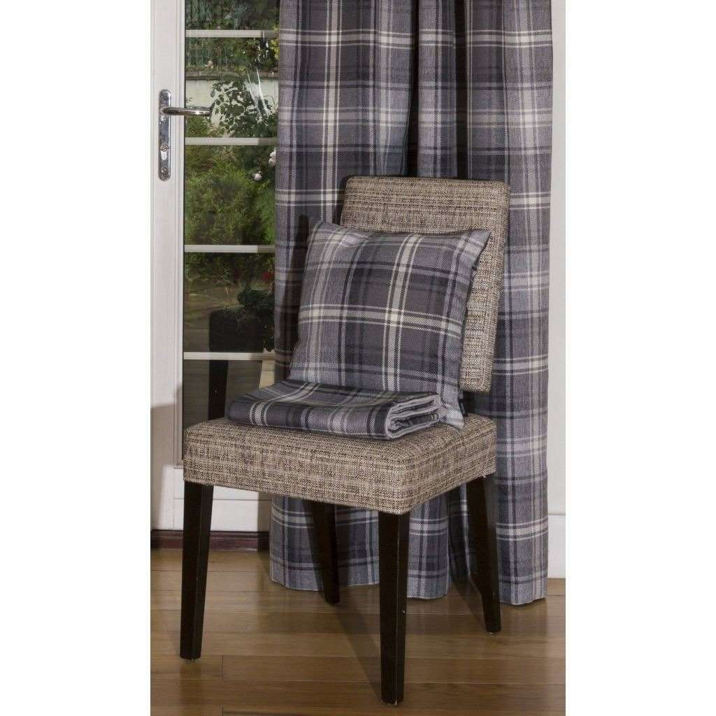 McAlister Textiles Angus Charcoal Grey Tartan Cushion Cushions and Covers