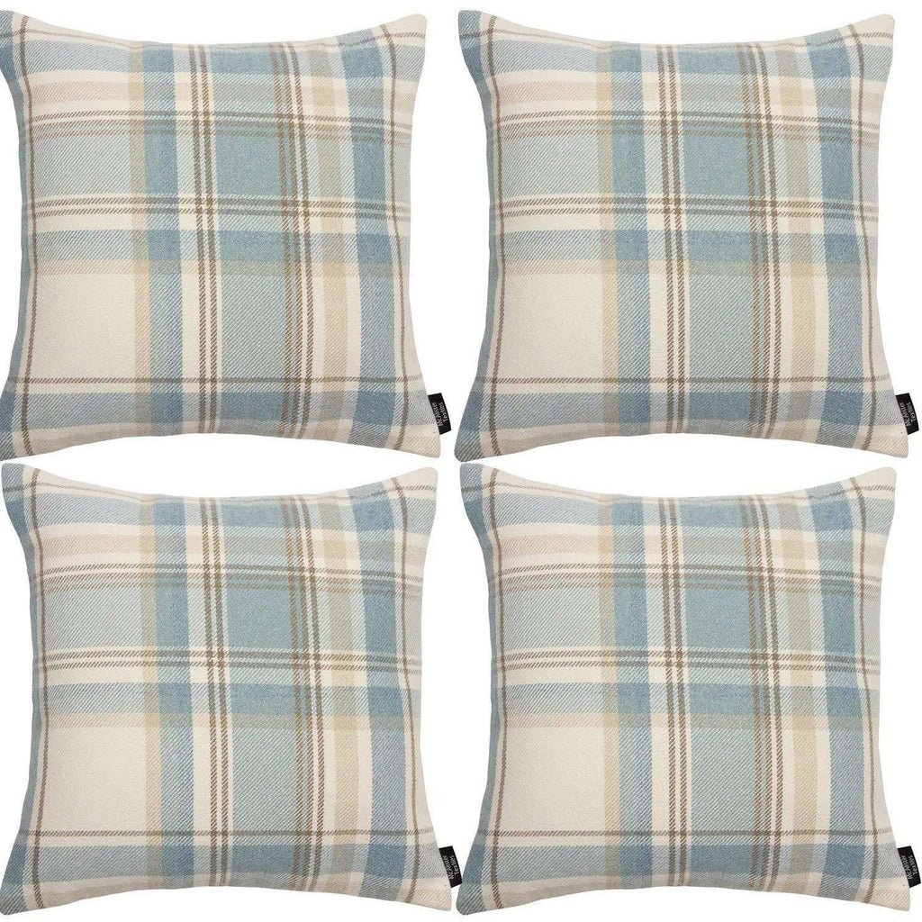 McAlister Textiles Heritage Duck Egg Blue Tartan 43cm x 43cm Cushion Sets Cushions and Covers Cushion Covers Set of 4