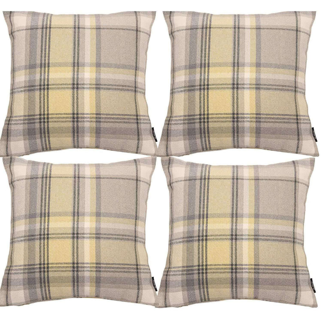 McAlister Textiles Heritage Yellow + Grey Tartan 43cm x 43cm Cushion Sets Cushions and Covers Cushion Covers Set of 4