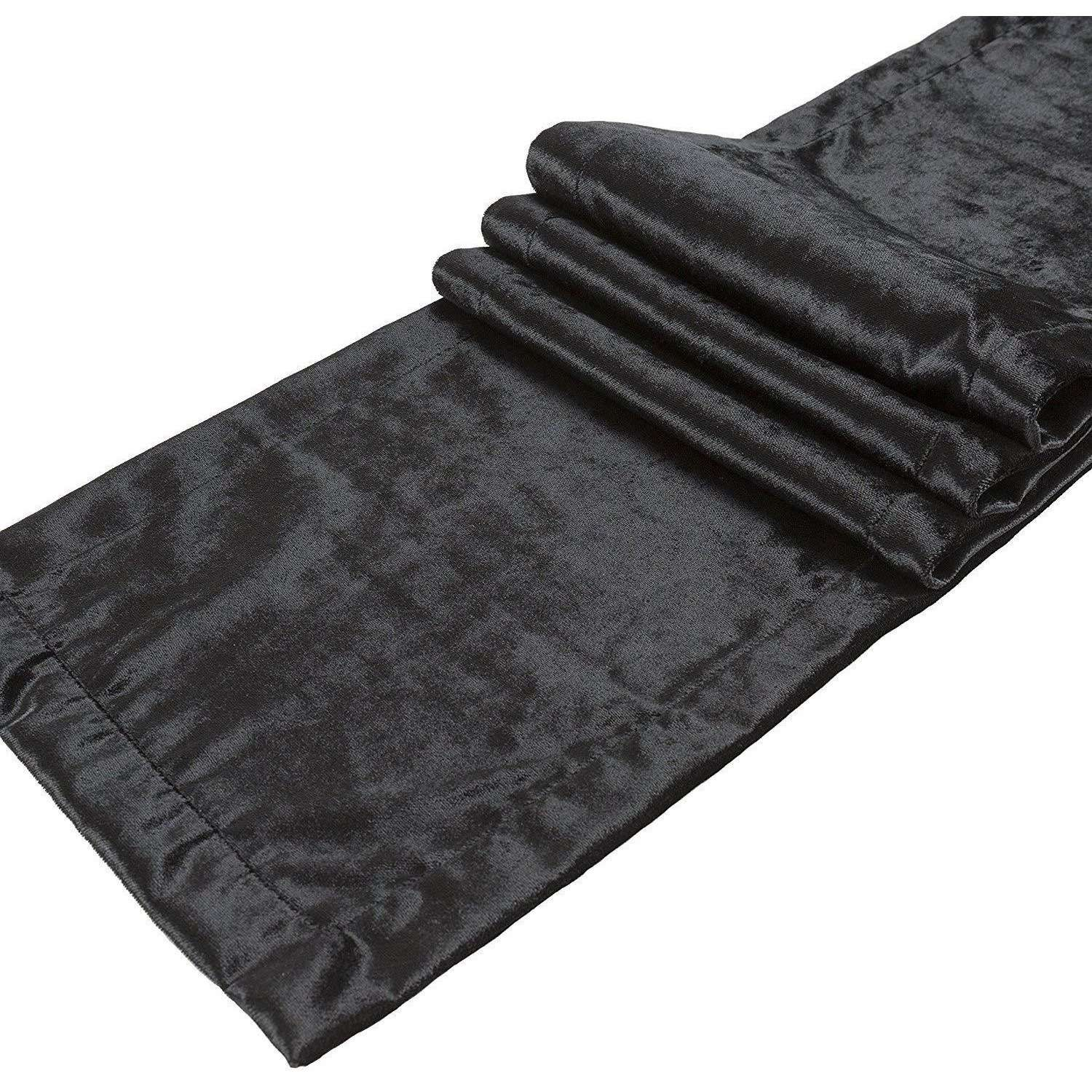 McAlister Textiles Black Crushed Velvet Throws & Runners Throws and Runners Bed Runner (50cm x 240cm)