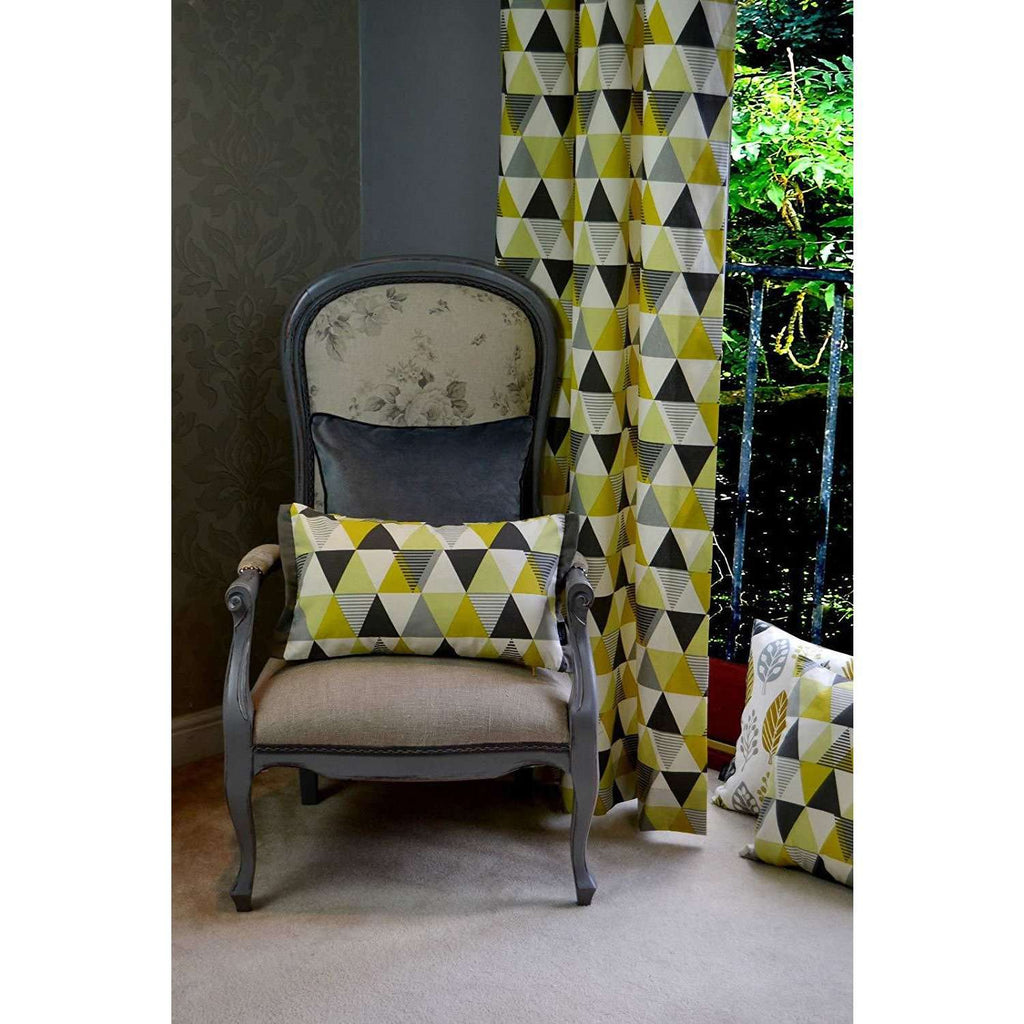 McAlister Textiles Vita Cotton Print Ochre Yellow Cushion Cushions and Covers