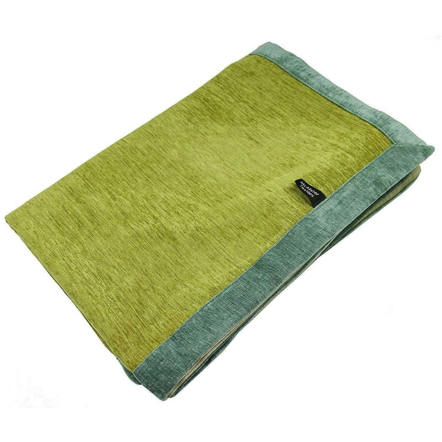 McAlister Textiles Alston Chenille Green + Duck Egg Blue Throws & Runners Throws and Runners Regular (130cm x 200cm)