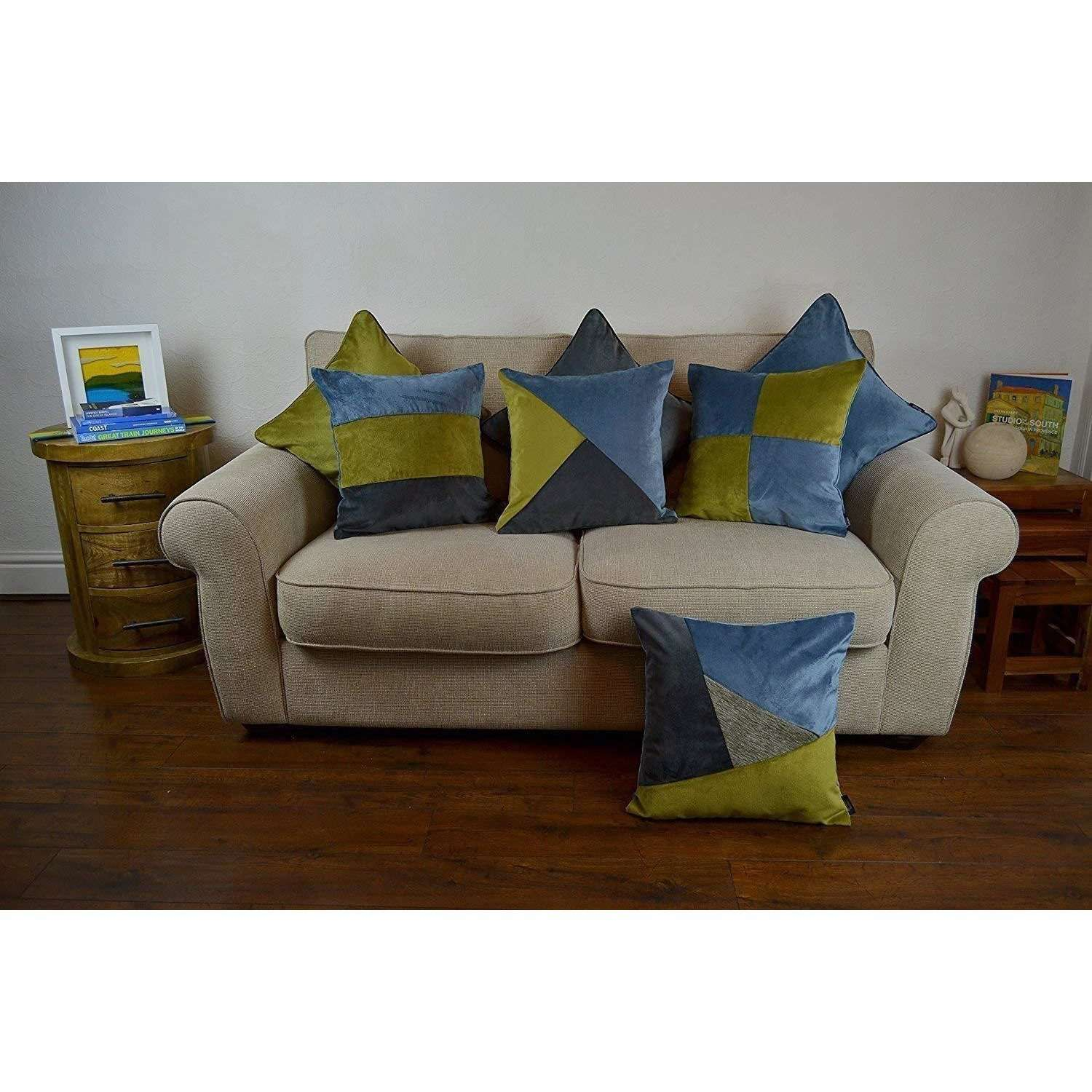 McAlister Textiles Patchwork Velvet Green, Blue + Grey Cushion Set Cushions and Covers