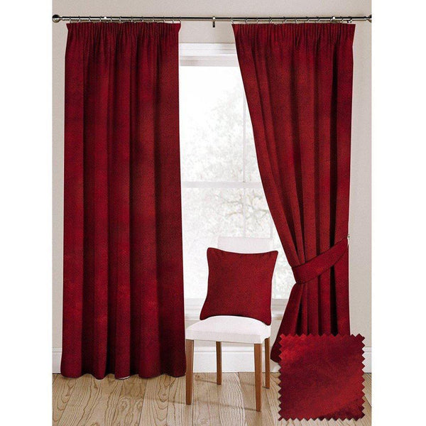 "McAlister Textiles Wine Red Crushed Velvet Curtains Tailored Curtains 116cm(w) x 182cm(d) (46"" x 72"")"