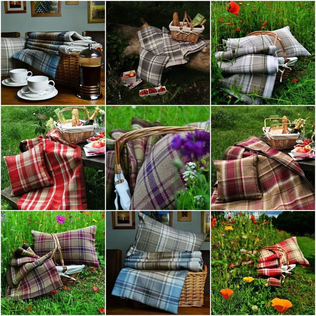 McAlister Textiles Heritage Purple + Green Tartan Table Runner Throws and Runners