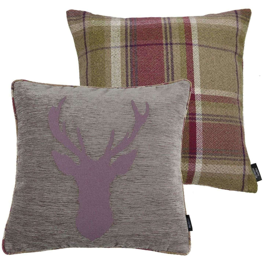 McAlister Textiles Stag Purple + Green Tartan Cushion Cushions and Covers
