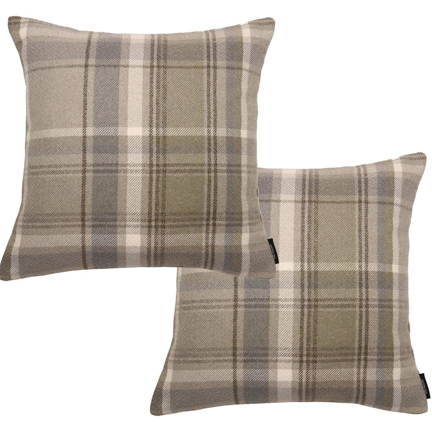 McAlister Textiles Heritage Beige Cream Tartan 43cm x 43cm Cushion Sets Cushions and Covers Cushion Covers Set of 2