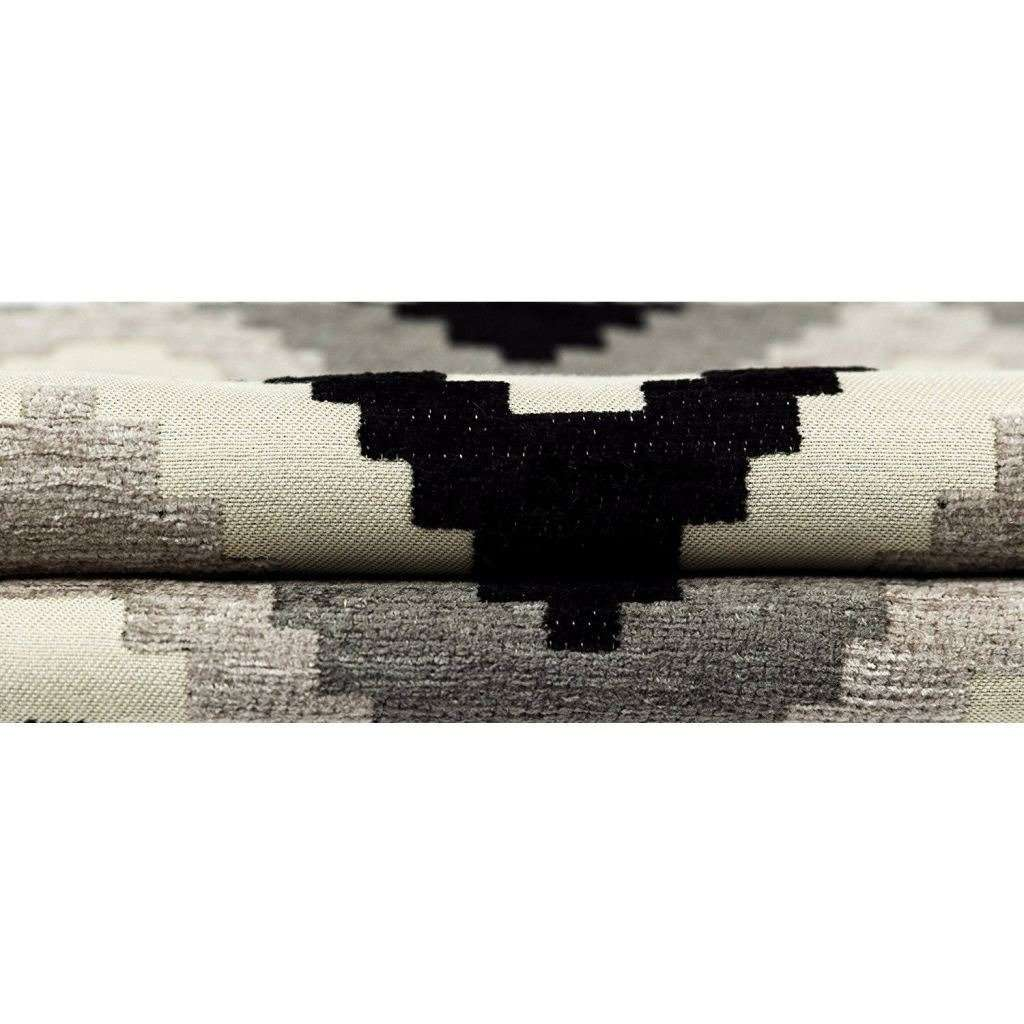 McAlister Textiles Navajo Black + Grey Striped Cushion Cushions and Covers